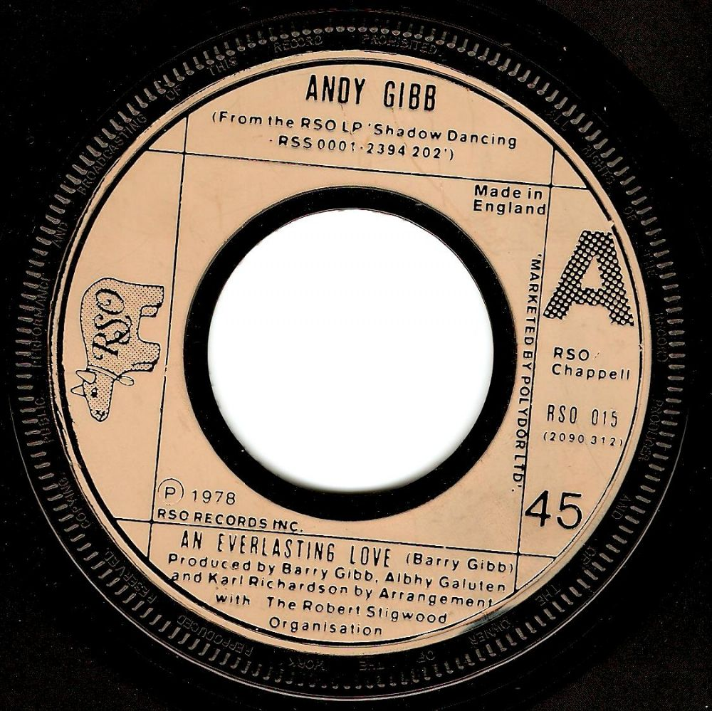 ANDY GIBB An Everlasting Love Vinyl Record 7 Inch RSO 1978.